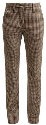 Miu Miu Houndstooth Wool Trousers - Womens - Brown Multi