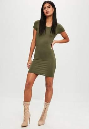 Missguided Khaki Short Sleeve Bodycon Mini Dress