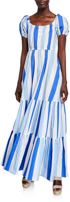 Caroline Constas Bardot Printed Scoop-Neck Short-Sleeve Maxi Dress
