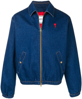 Ami Paris Padded De Coeur Zipped Denim Jacket