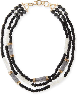 Neiman Marcus Akola Three-Strand Beaded Moonstone Necklace