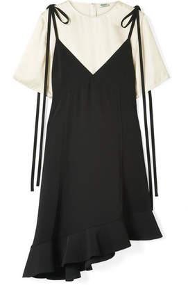 Kenzo Layered Ruffled Crepe And Satin Mini Dress - Black