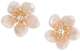 lonna & lilly Gold-Tone Pave & Imitation Pearl Flower Stud Earrings