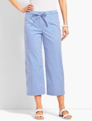 Talbots Stripe High-Waist Wide-Leg Crop