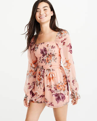 Abercrombie & Fitch A&F Women's Smocked Romper in PEACH - Size L
