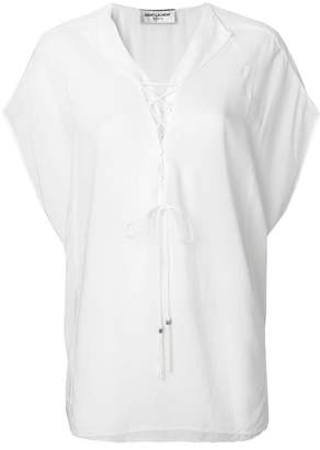 Saint Laurent lace-up tabard blouse