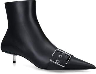 Balenciaga Leather Buckle Ankle Boots 40