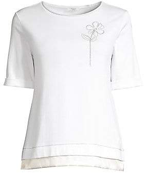 Peserico Women's Embellished Flower Stretch Cotton Tee