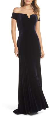Vince Camuto Notch Neck Velvet Off the Shoulder Gown