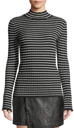 Joie Gestina Striped Mock-Neck Sweater