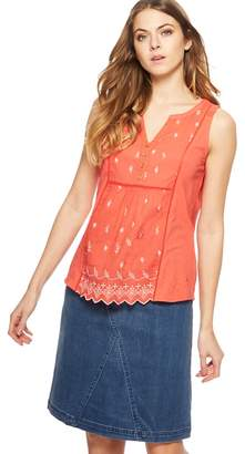 Mantaray Dark Orange Floral Embroidered Notch Neck Vest Top