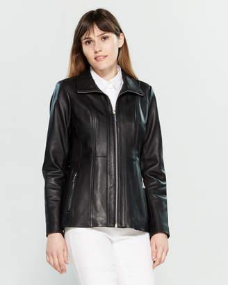 MICHAEL Michael Kors Stand Collar Leather Jacket