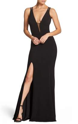 Dress the Population Lana Plunging Strappy Shoulder Gown