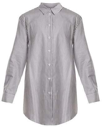 ASCENO Point-collar striped cotton shirtdress