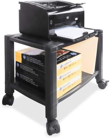Kantek Mobile 2-Shelf Printer/Fax Stand, Black