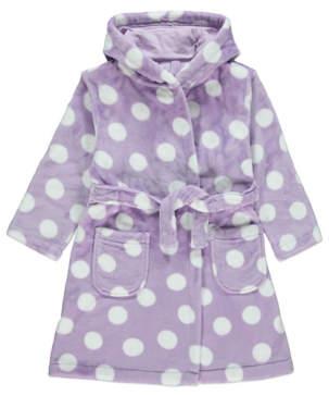 George Lilac Polka Dot Fleece Dressing Gown