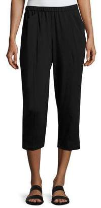 Eileen Fisher Organic Stretch Jersey Cropped Pants, Black