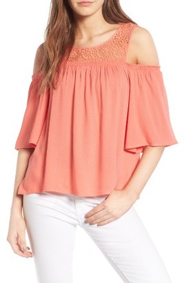 Women's Ella Moss Crochet Cold Shoulder Top $148 thestylecure.com