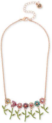 "Betsey Johnson Rose Gold-Tone Crystal Flower & Beetle Statement Necklace, 15-1/2"" + 3"" extender"