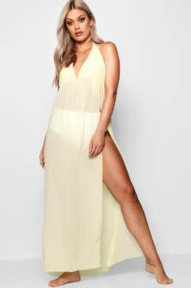 boohoo Plus Kerry Chiffon Plunge Split Maxi Beach Dress