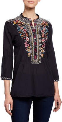 Johnny Was Bethanie Floral Embroidered Button-Down Tunic Blouse