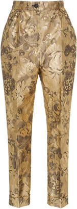Dolce & Gabbana Floral Lurex Jacquard Cropped Trousers