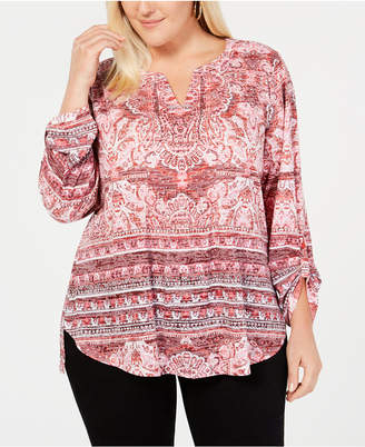 Style&Co. Style & Co Plus Size Mixed-Print Burnout Peasant Top