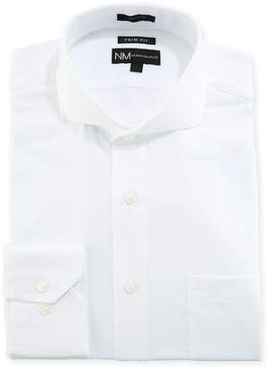 Neiman Marcus Trim Fit Textured Dobby Dress Shirt, White