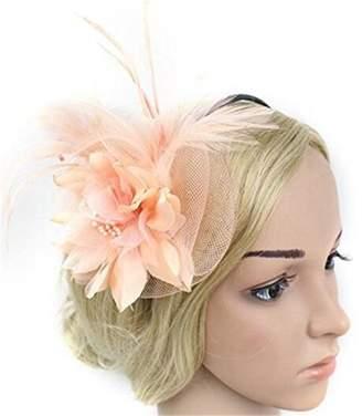 Yiweir Women Elegant Fascinator Hat Feather Flower Headwear Hair Clip Cocktail