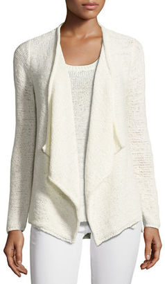 Neiman Marcus Cashmere Collection Tape-Yarn Draped Cardigan $250 thestylecure.com