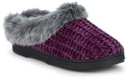 Dearfoams Faux Fur Chenille Slippers