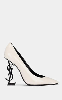 Saint Laurent Women's Opyum Patent Leather Pumps - White