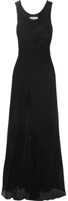 Maison Margiela - Lace-trimmed Silk Crepe De Chine And Jersey Dress - Black $1,970 thestylecure.com
