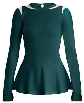 Oscar De La Renta - Mesh Insert Wool Sweater - Womens - Dark Green