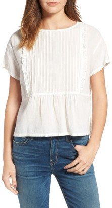 Women's Current/elliott The Pintuck Ruffle Top $178 thestylecure.com