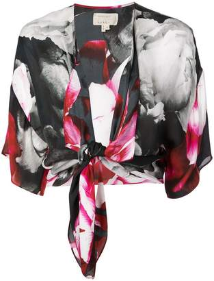 Nicole Miller cropped printed blouse