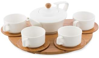 5 Piece Porcelain Teapot And Teacup Set On Bamboo Tray