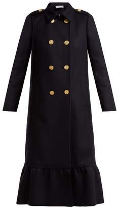 Redvalentino - Frilled Hem Wool Blend Double Breasted Coat - Womens - Navy