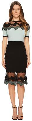 Yigal Azrouel Shell Lace Combo Short Sleeve Knit Dress