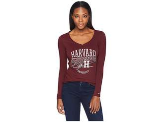 Champion College Harvard Crimson University V-Neck Long Sleeve Tee