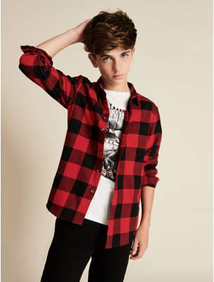 George Red Check Shirt and Printed T-Shirt Set