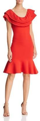 Milly Ruffled Rib-Knit Dress