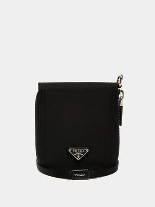 Prada Nylon And Saffiano Leather Necklace Wallet - Mens - Black
