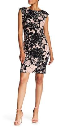 Connected Apparel Floral Print Belted Dress