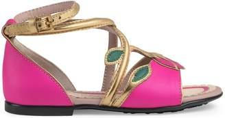 Gucci Toddler leather flower sandal