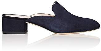 Barneys New York Women's Chunky-Heel Suede Mules $225 thestylecure.com