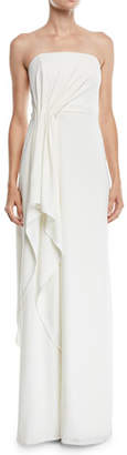 Halston Strapless Crepe Gown w/ Draped Front