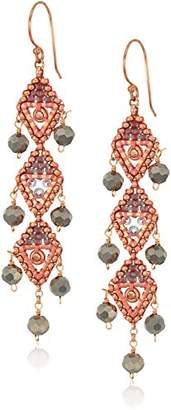 Miguel Ases Vertical Triple Opaque Swarovski Trillion Dangle Earrings