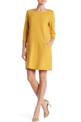 Nina Leonard Crew Neck 3/4 Sleeve Trapeze Dress