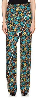 Balenciaga WOMEN'S FLORAL COTTON-BLEND TWILL CROSSOVER PANTS SIZE 38 FR